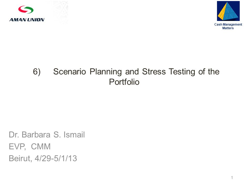 6)Scenario Planning and Stress Testing of the Portfolio Cash Management Matters 1 Dr.