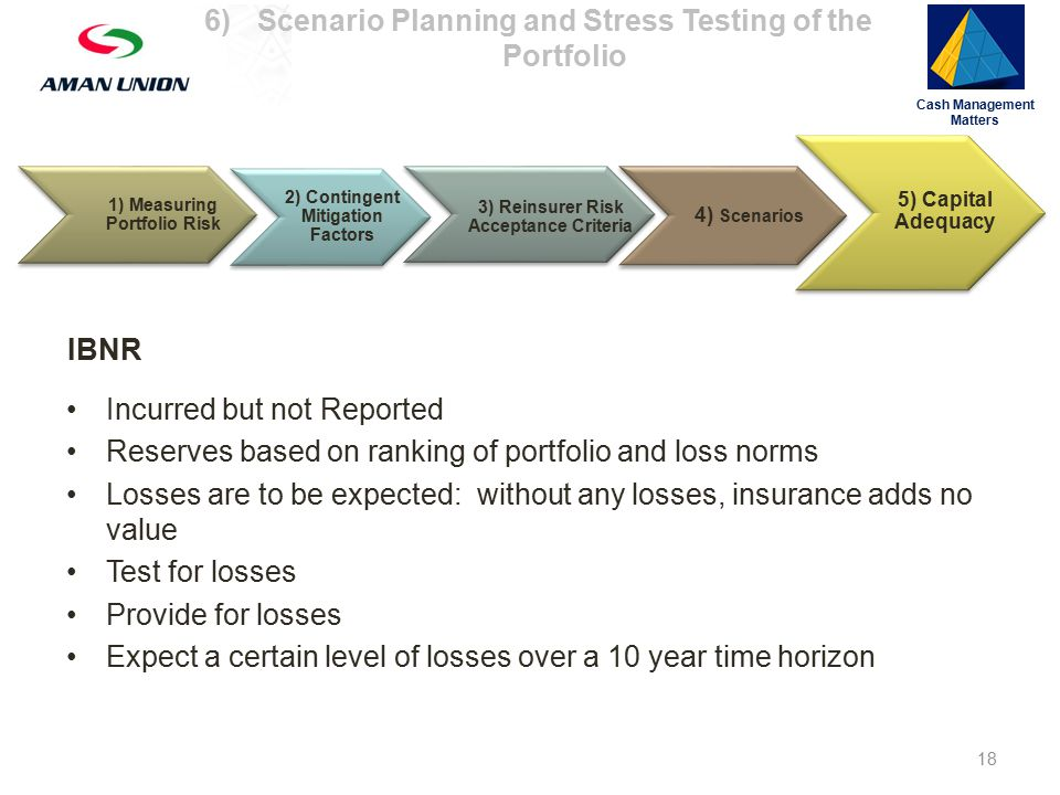 1) Measuring Portfolio Risk 3) Reinsurer Risk Acceptance Criteria 4) Scenarios 5) Capital Adequacy Cash Management Matters IBNR Incurred but not Reported Reserves based on ranking of portfolio and loss norms Losses are to be expected: without any losses, insurance adds no value Test for losses Provide for losses Expect a certain level of losses over a 10 year time horizon 2) Contingent Mitigation Factors 18 6)Scenario Planning and Stress Testing of the Portfolio