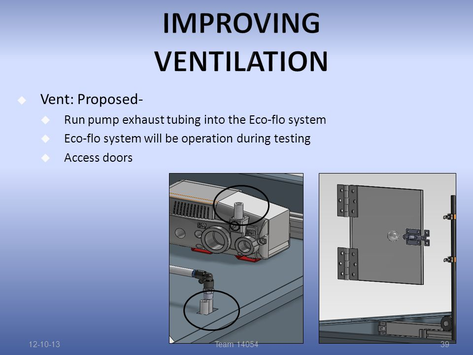  Vent: Proposed-  Run pump exhaust tubing into the Eco-flo system  Eco-flo system will be operation during testing  Access doors 12-10-13Team 1405439