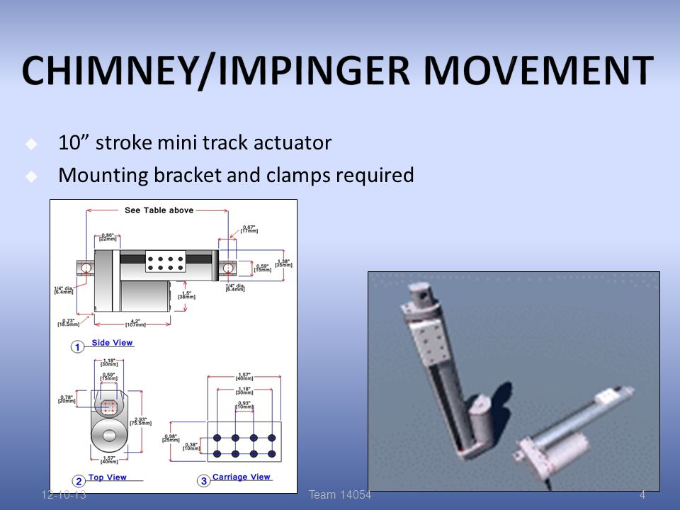  10 stroke mini track actuator  Mounting bracket and clamps required 12-10-13Team 140544