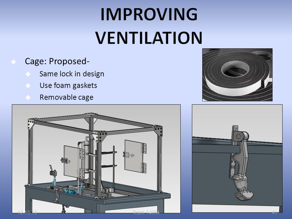  Cage: Proposed-  Same lock in design  Use foam gaskets  Removable cage 12-10-13Team 1405441