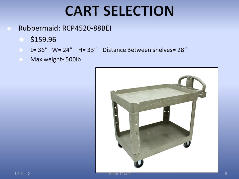  Rubbermaid: RCP4520-88BEI  $159.96  L= 36 W= 24 H= 33 Distance Between shelves= 28  Max weight- 500lb 12-10-13Team 140546