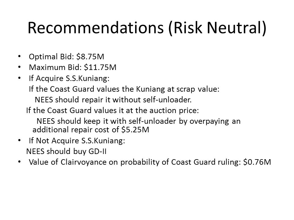 Recommendations (Risk Neutral) Optimal Bid: $8.75M Maximum Bid: $11.75M If Acquire S.S.Kuniang: If the Coast Guard values the Kuniang at scrap value: NEES should repair it without self-unloader.