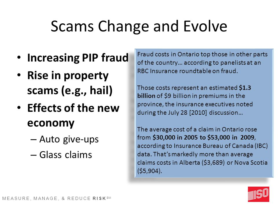 MEASURE, MANAGE, & REDUCE RISK SM Scams Change and Evolve Increasing PIP fraud Rise in property scams (e.g., hail) Effects of the new economy – Auto give-ups – Glass claims Fraud costs in Ontario top those in other parts of the country… according to panelists at an RBC Insurance roundtable on fraud.