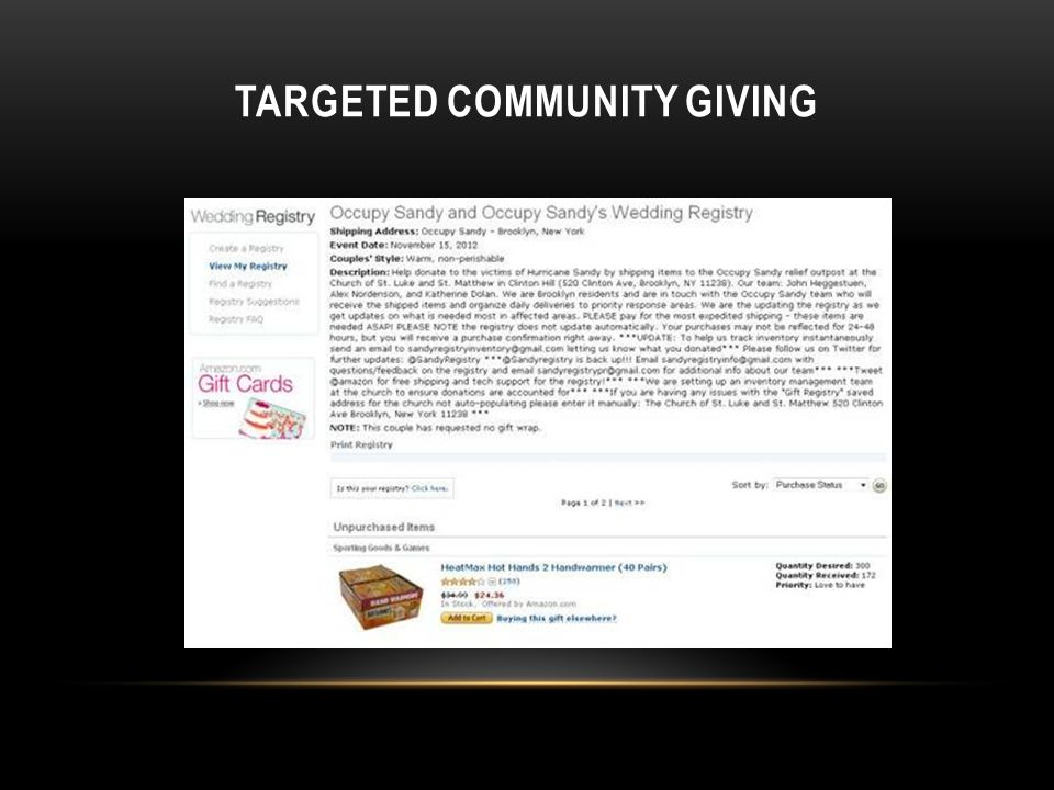 TARGETED COMMUNITY GIVING