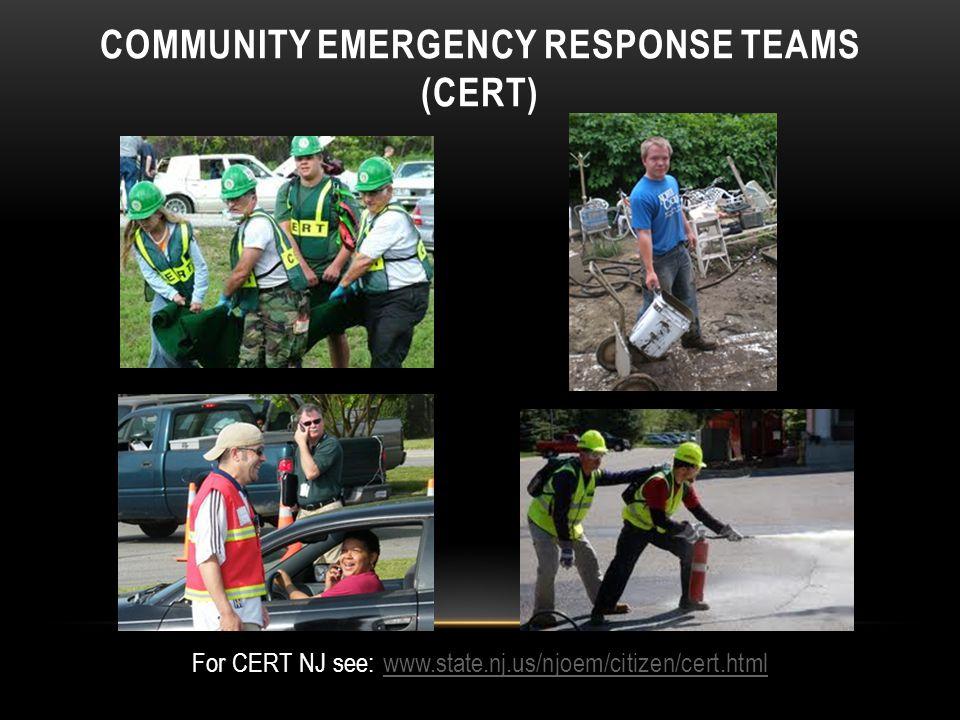 COMMUNITY EMERGENCY RESPONSE TEAMS (CERT) For CERT NJ see: www.state.nj.us/njoem/citizen/cert.htmlwww.state.nj.us/njoem/citizen/cert.html