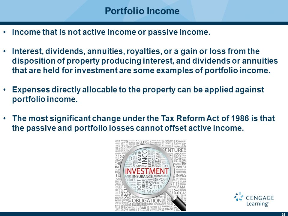 21 Portfolio Income Income that is not active income or passive income.
