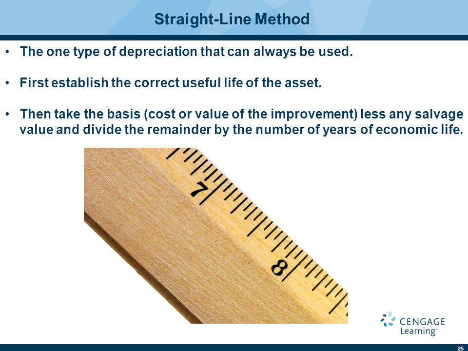 25 Straight-Line Method The one type of depreciation that can always be used.