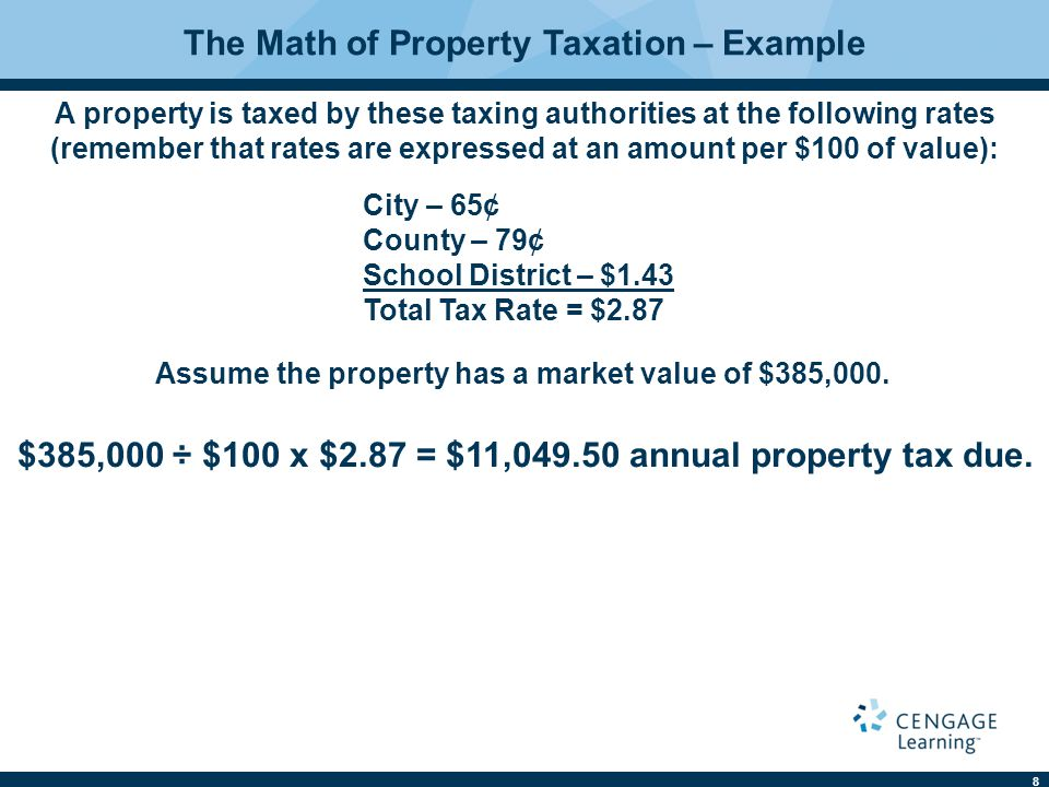 8 The Math of Property Taxation – Example A property is taxed by these taxing authorities at the following rates (remember that rates are expressed at an amount per $100 of value): City – 65¢ County – 79¢ School District – $1.43 Total Tax Rate = $2.87 Assume the property has a market value of $385,000.