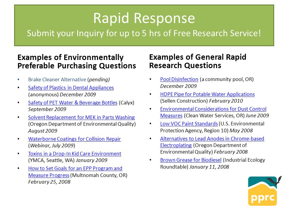 Rapid Response Submit your Inquiry for up to 5 hrs of Free Research Service.