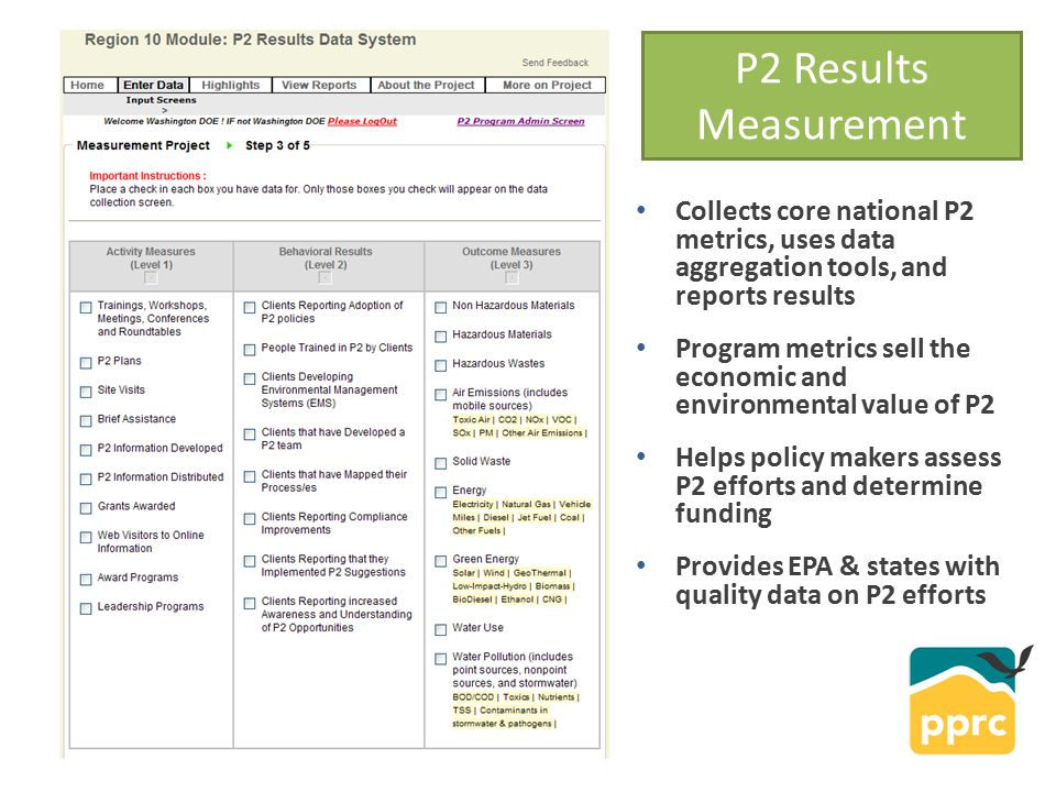 Collects core national P2 metrics, uses data aggregation tools, and reports results Program metrics sell the economic and environmental value of P2 Helps policy makers assess P2 efforts and determine funding Provides EPA & states with quality data on P2 efforts P2 Results Measurement