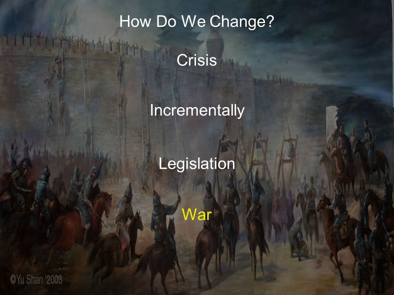 How Do We Change? Crisis Incrementally Legislation War