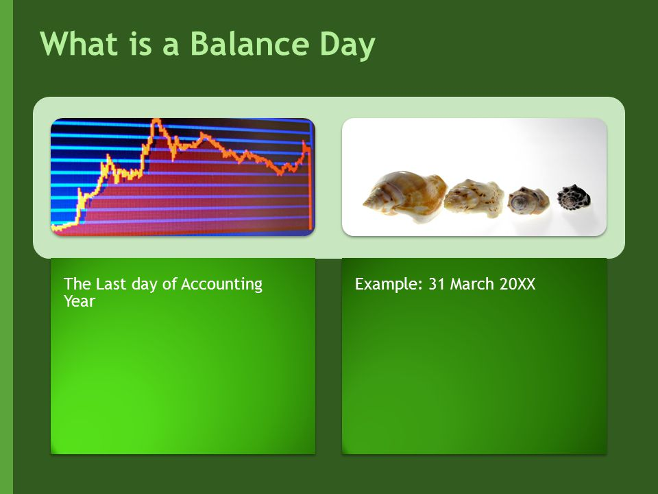 What is a Balance Day The Last day of Accounting Year Example: 31 March 20XX