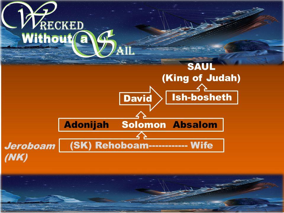 W W S RECKED Without a S AIL SAUL (King of Judah) Ish-bosheth David Adonijah Solomon Absalom (SK) Rehoboam------------ Wife Jeroboam (NK)