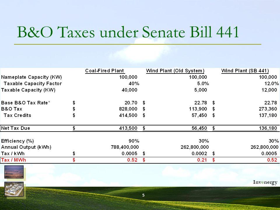 Invenergy 6 B&O Taxes under Senate Bill 441