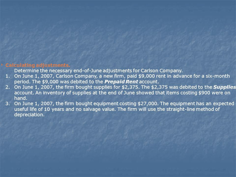  Calculating adjustments.Determine the necessary end-of-June adjustments for Carlson Company.