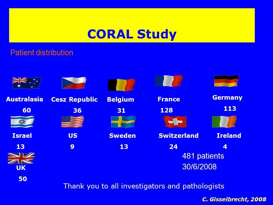 CORAL Study Patient distribution Australasia 60 Germany 113 Cesz Republic 36 France 128 Belgium 31 Israel 13 US 9 Sweden 13 Switzerland 24 481 patient