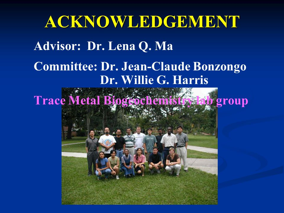 ACKNOWLEDGEMENT Advisor: Dr. Lena Q. Ma Committee: Dr.