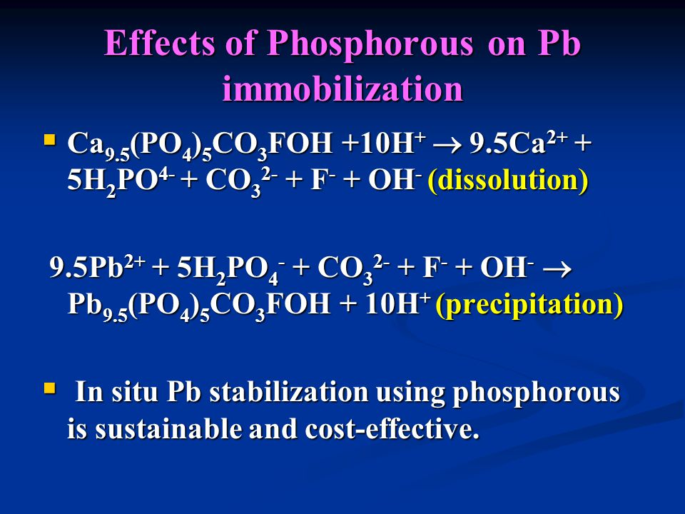 Effects of Phosphorous on Pb immobilization  Ca 9.5 (PO 4 ) 5 CO 3 FOH +10H +  9.5Ca 2+ + 5H 2 PO 4- + CO 3 2- + F - + OH - (dissolution) 9.5Pb 2+ + 5H 2 PO 4 - + CO 3 2- + F - + OH -  Pb 9.5 (PO 4 ) 5 CO 3 FOH + 10H + (precipitation) 9.5Pb 2+ + 5H 2 PO 4 - + CO 3 2- + F - + OH -  Pb 9.5 (PO 4 ) 5 CO 3 FOH + 10H + (precipitation)  In situ Pb stabilization using phosphorous is sustainable and cost-effective.