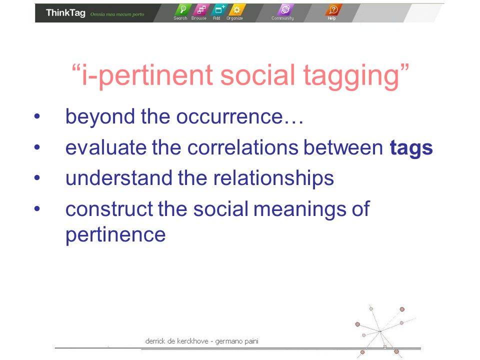 i-pertinent social tagging beyond the occurrence… evaluate the correlations between tags understand the relationships construct the social meanings of pertinence