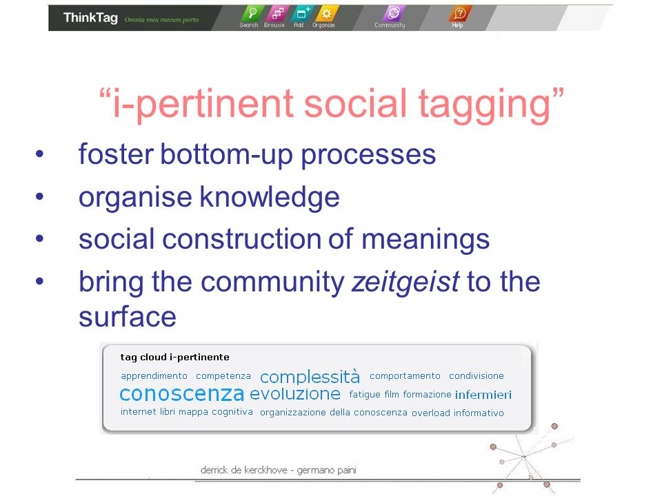 i-pertinent social tagging foster bottom-up processes organise knowledge social construction of meanings bring the community zeitgeist to the surface