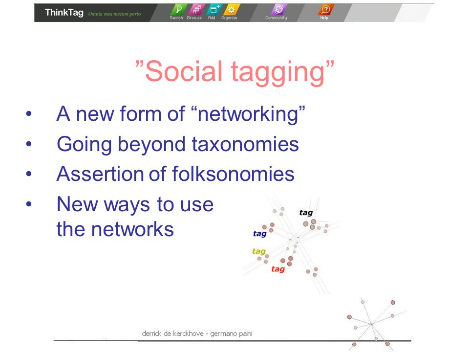 Social tagging A new form of networking Going beyond taxonomies Assertion of folksonomies New ways to use the networks