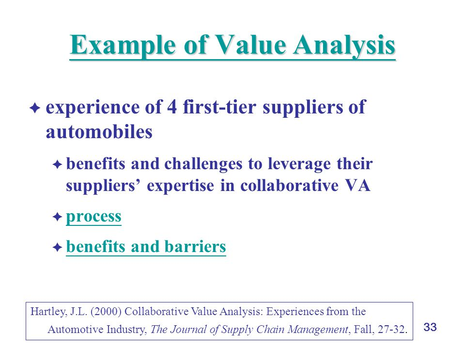 33 Example of Value Analysis Example of Value Analysis  experience of 4 first-tier suppliers of automobiles  benefits and challenges to leverage their suppliers' expertise in collaborative VA  process process  benefits and barriers benefits and barriers Hartley, J.L.