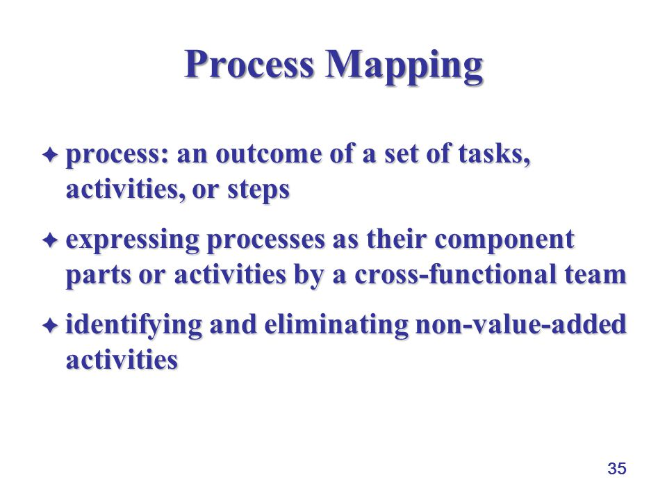 35 Process Mapping  process: an outcome of a set of tasks, activities, or steps  expressing processes as their component parts or activities by a cross-functional team  identifying and eliminating non-value-added activities