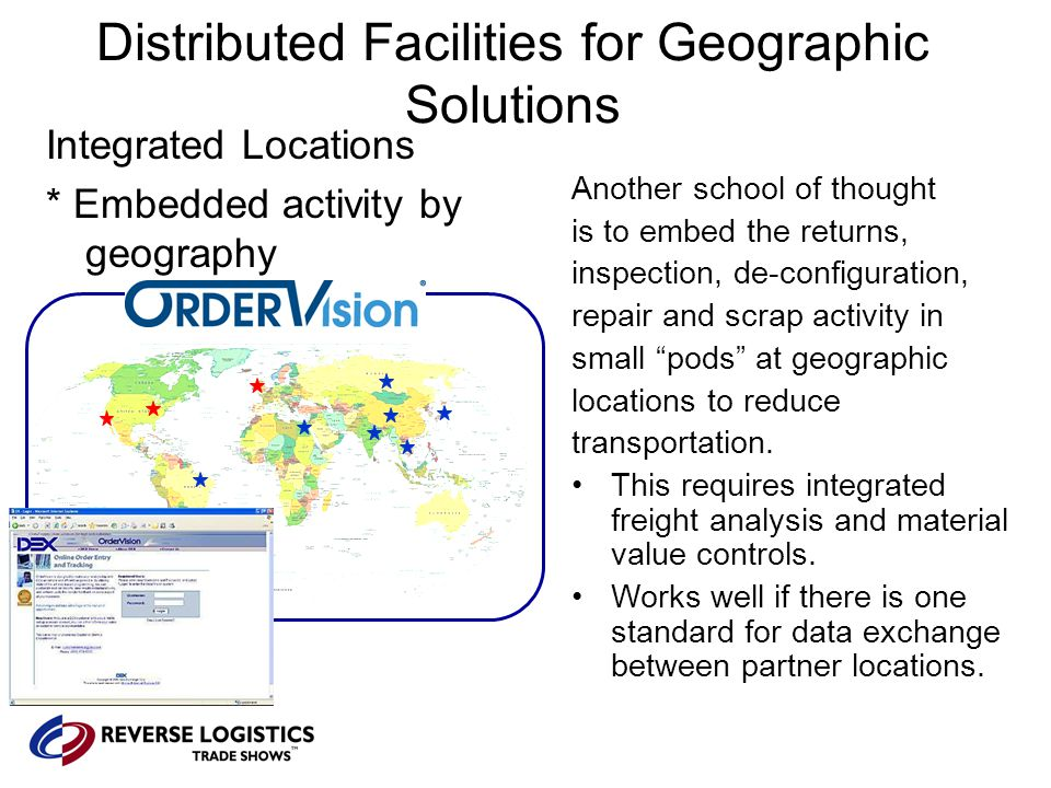 Distributed Facilities for Geographic Solutions Integrated Locations * Embedded activity by geography Another school of thought is to embed the returns, inspection, de-configuration, repair and scrap activity in small pods at geographic locations to reduce transportation.