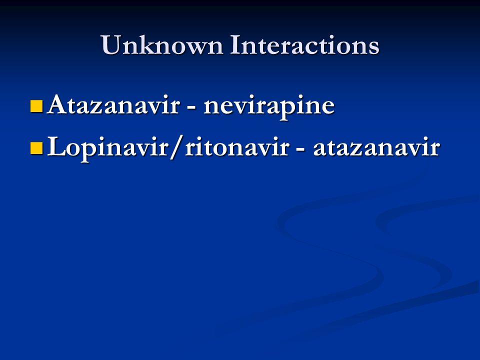 Unknown Interactions Atazanavir - nevirapine Atazanavir - nevirapine Lopinavir/ritonavir - atazanavir Lopinavir/ritonavir - atazanavir