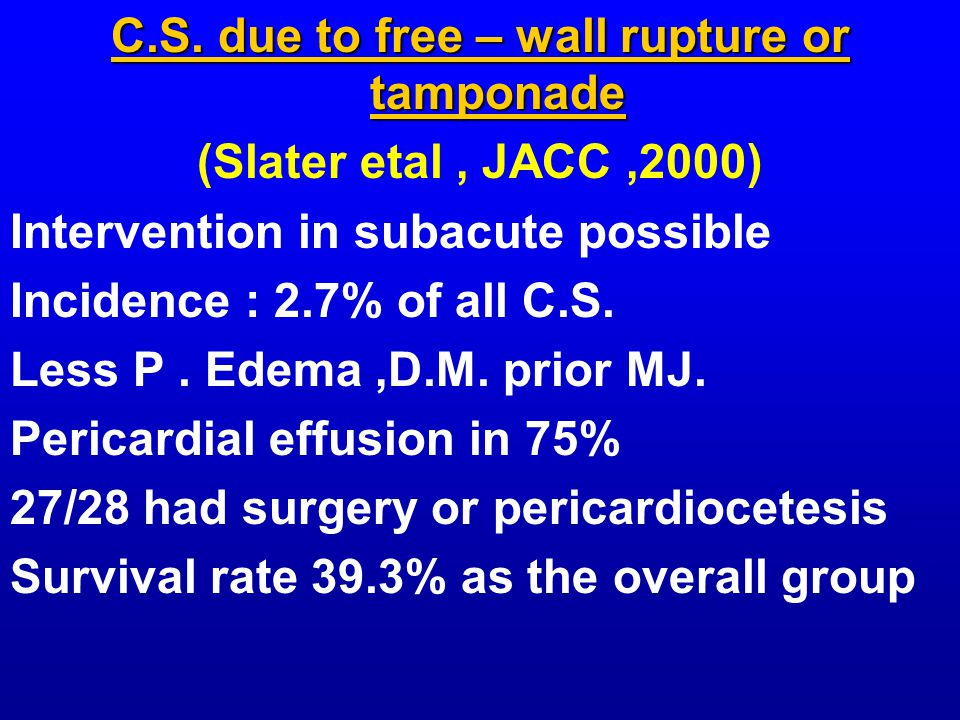 C.S. due to free – wall rupture or tamponade (Slater etal, JACC,2000) Intervention in subacute possible Incidence : 2.7% of all C.S. Less P. Edema,D.M