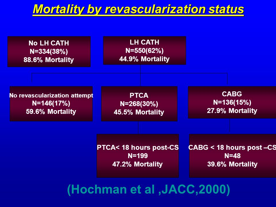 Mortality by revascularization status No LH CATH N=334(38%) 88.6% Mortality No revascularization attempt N=146(17%) 59.6% Mortality CABG < 18 hours post –CS N=48 39.6% Mortality PTCA< 18 hours post-CS N=199 47.2% Mortality LH CATH N=550(62%) 44.9% Mortality CABG N=136(15%) 27.9% Mortality PTCA N=268(30%) 45.5% Mortality (Hochman et al,JACC,2000)