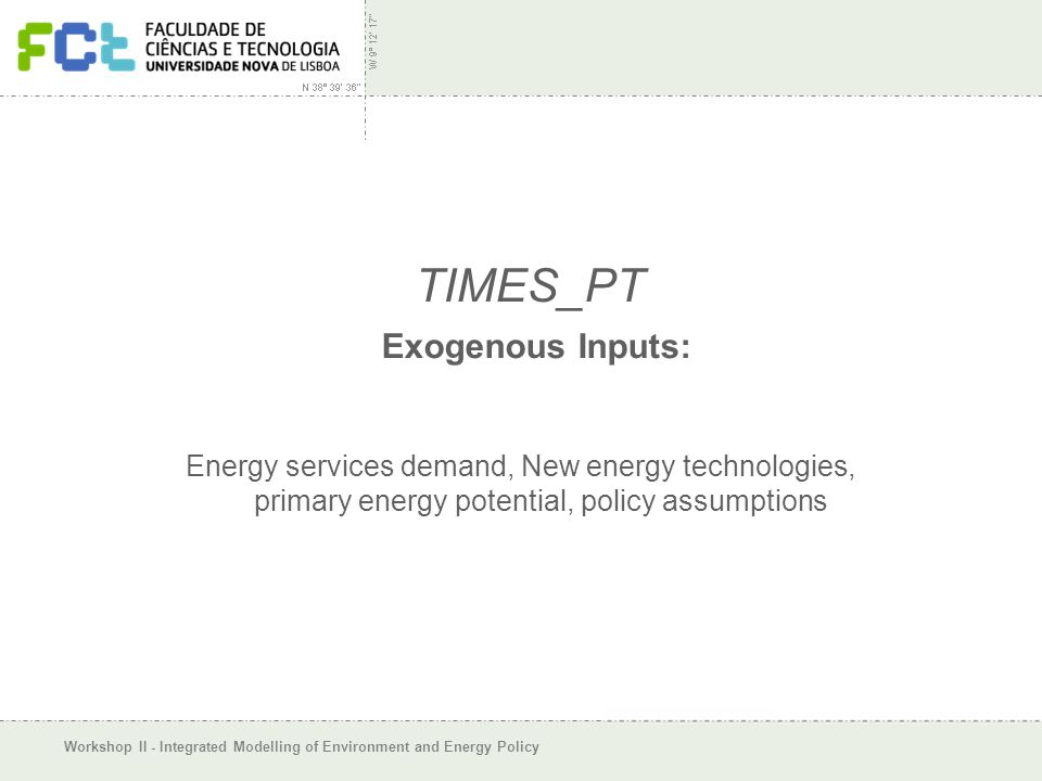 Workshop II - Integrated Modelling of Environment and Energy Policy TIMES_PT Exogenous Inputs: Energy services demand, New energy technologies, primary energy potential, policy assumptions
