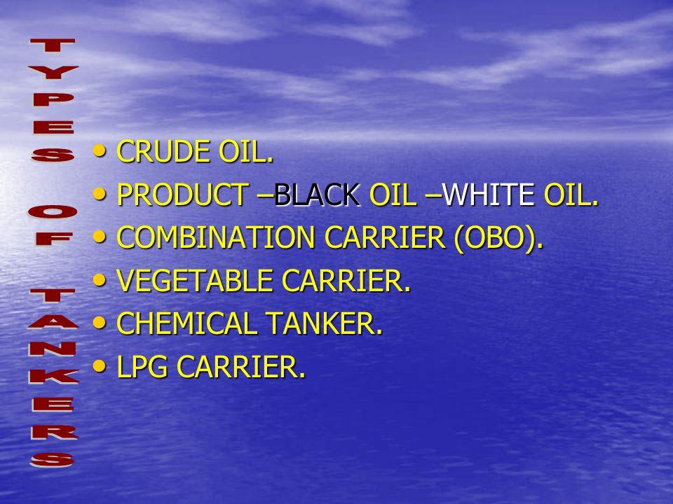 CRUDE OIL. CRUDE OIL. PRODUCT –BLACK OIL –WHITE OIL. PRODUCT –BLACK OIL –WHITE OIL. COMBINATION CARRIER (OBO). COMBINATION CARRIER (OBO). VEGETABLE CA