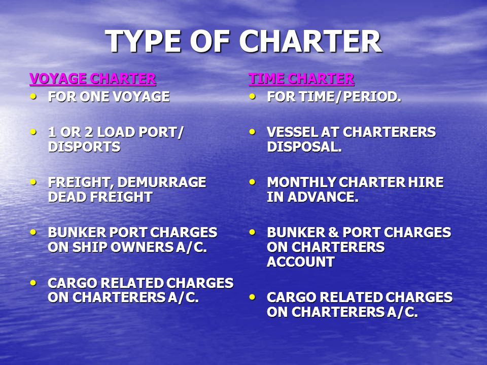 TYPE OF CHARTER VOYAGE CHARTER FOR ONE VOYAGE FOR ONE VOYAGE 1 OR 2 LOAD PORT/ DISPORTS 1 OR 2 LOAD PORT/ DISPORTS FREIGHT, DEMURRAGE DEAD FREIGHT FRE