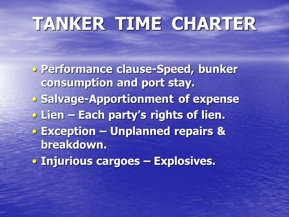 Performance clause-Speed, bunker consumption and port stay.Performance clause-Speed, bunker consumption and port stay. Salvage-Apportionment of expens