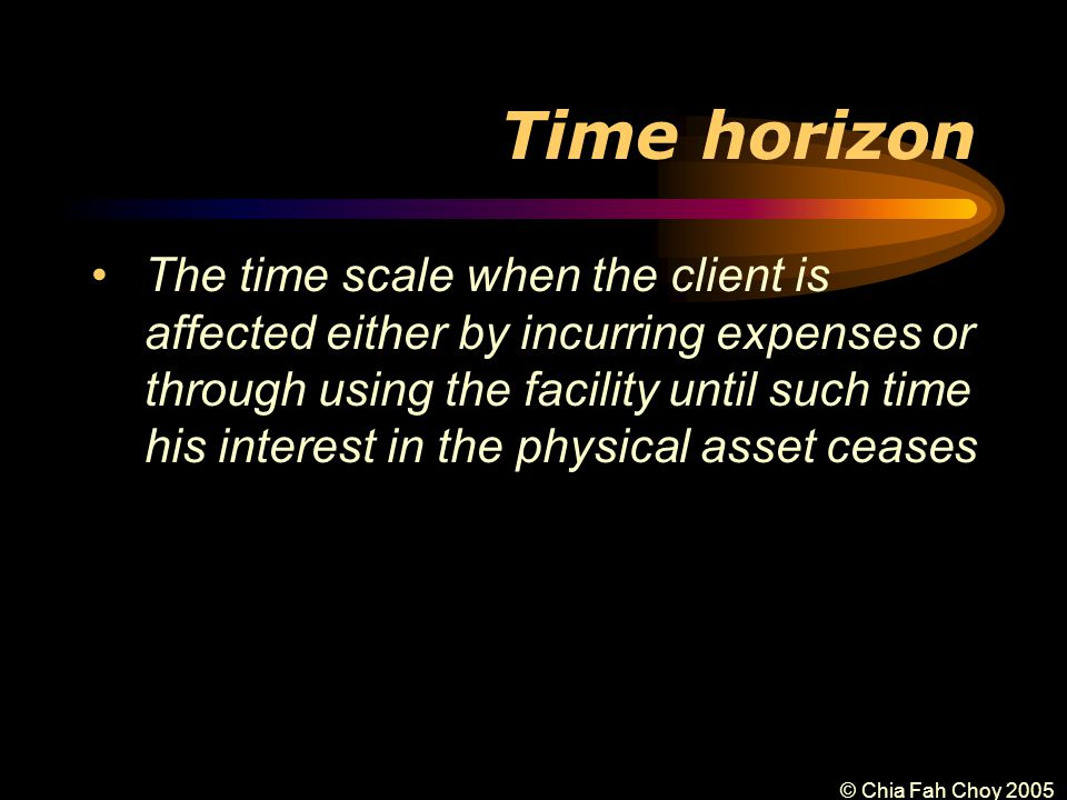 © Chia Fah Choy 2005 Time horizon The time scale when the client is affected either by incurring expenses or through using the facility until such time his interest in the physical asset ceases