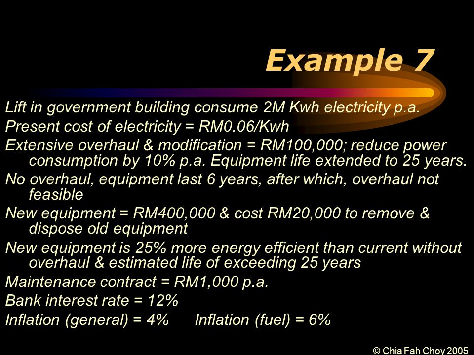 © Chia Fah Choy 2005 Example 7 Lift in government building consume 2M Kwh electricity p.a.