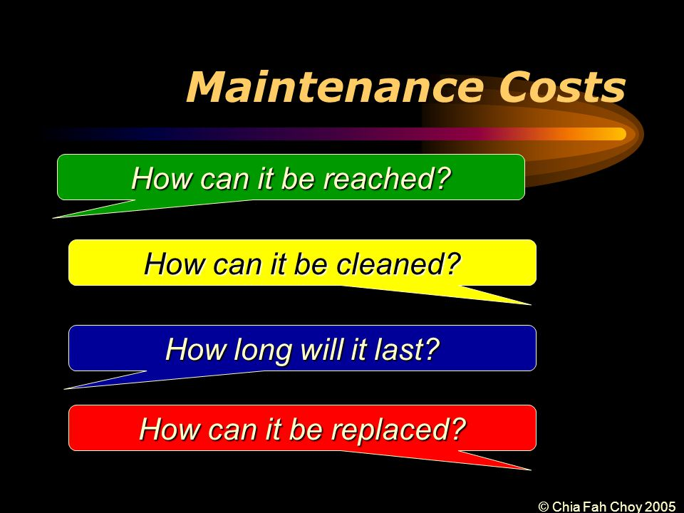 © Chia Fah Choy 2005 Maintenance Costs How can it be reached.