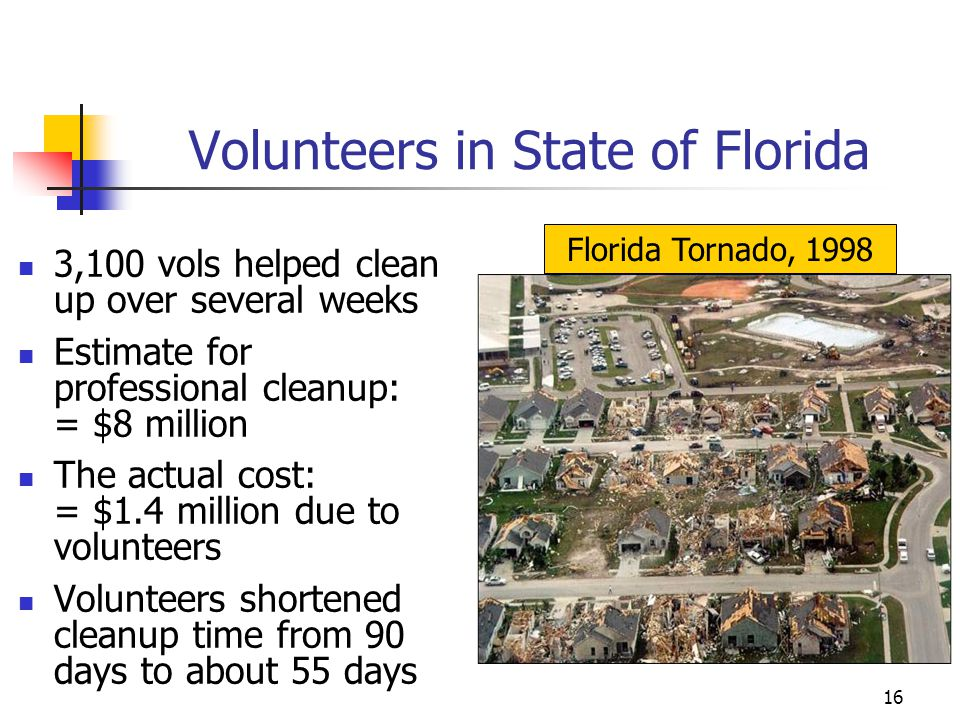 Volunteers in State of Florida 3,100 vols helped clean up over several weeks Estimate for professional cleanup: = $8 million The actual cost: = $1.4 m