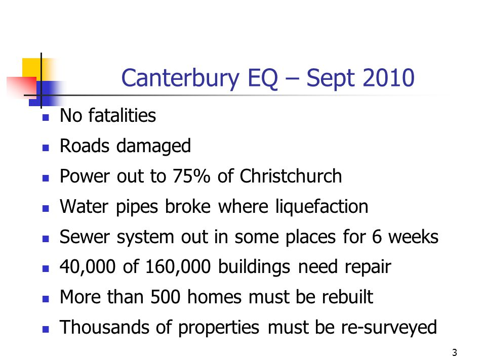 Canterbury EQ – Sept 2010 No fatalities Roads damaged Power out to 75% of Christchurch Water pipes broke where liquefaction Sewer system out in some p