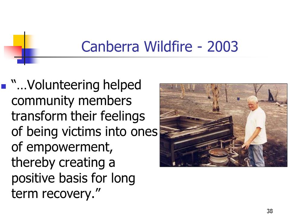 "Canberra Wildfire - 2003 ""…Volunteering helped community members transform their feelings of being victims into ones of empowerment, thereby creating"