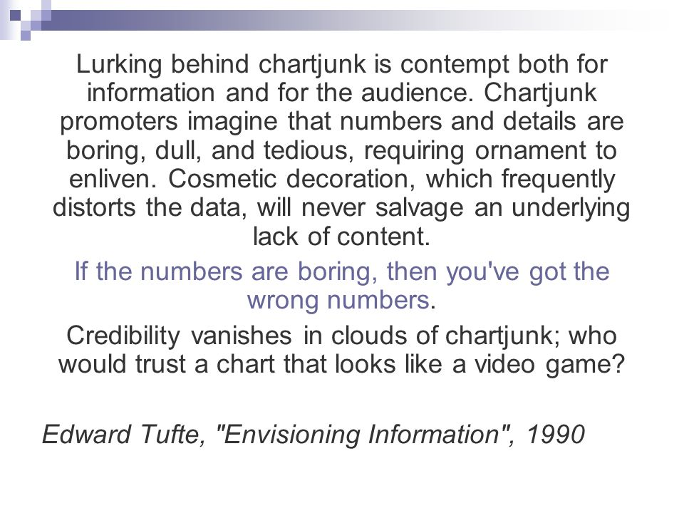 Lurking behind chartjunk is contempt both for information and for the audience.