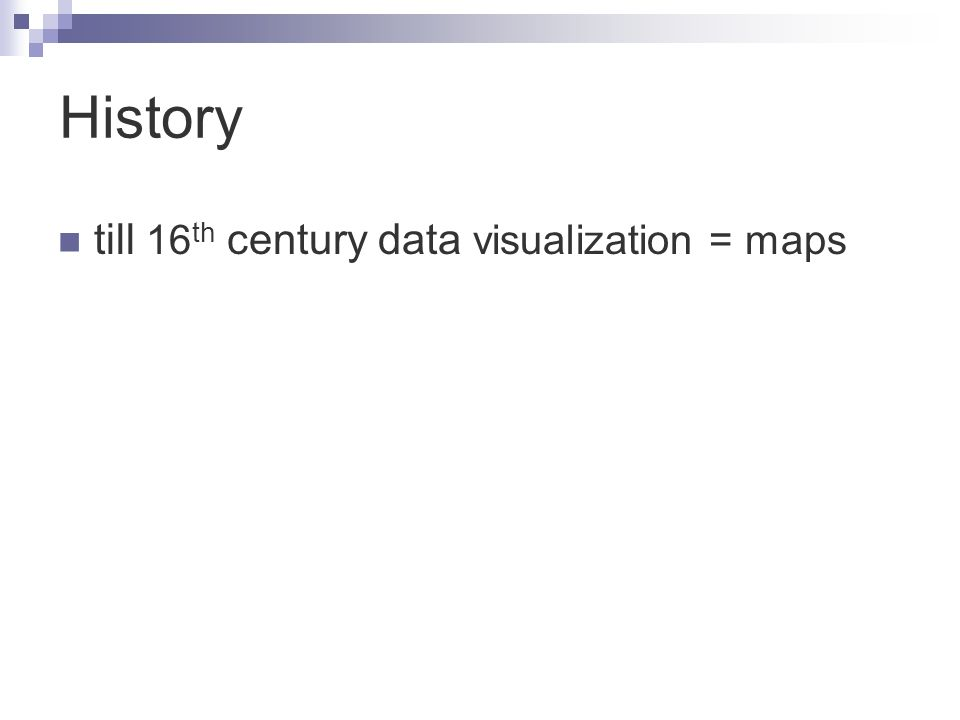 till 16 th century data visualization = maps History