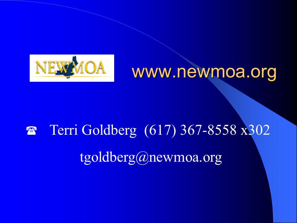 www.newmoa.org  Terri Goldberg(617) 367-8558 x302 tgoldberg@newmoa.org