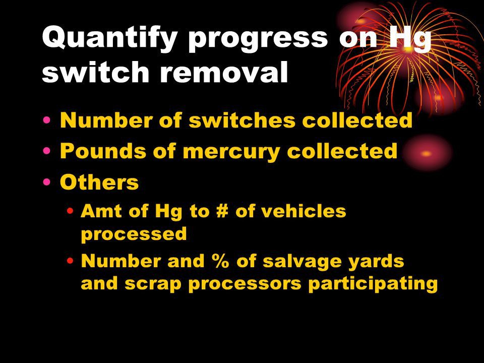 Quantify progress on Hg switch removal Number of switches collected Pounds of mercury collected Others Amt of Hg to # of vehicles processed Number and
