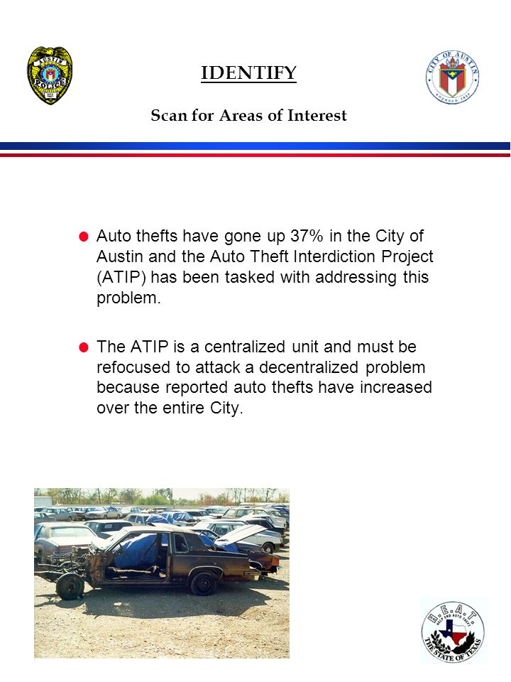 IDENTIFY Scan for Areas of Interest  Auto thefts have gone up 37% in the City of Austin and the Auto Theft Interdiction Project (ATIP) has been tasked with addressing this problem.