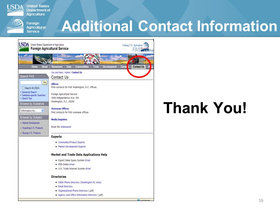 United States Department of Agriculture Foreign Agricultural Service Additional Contact Information Thank You.