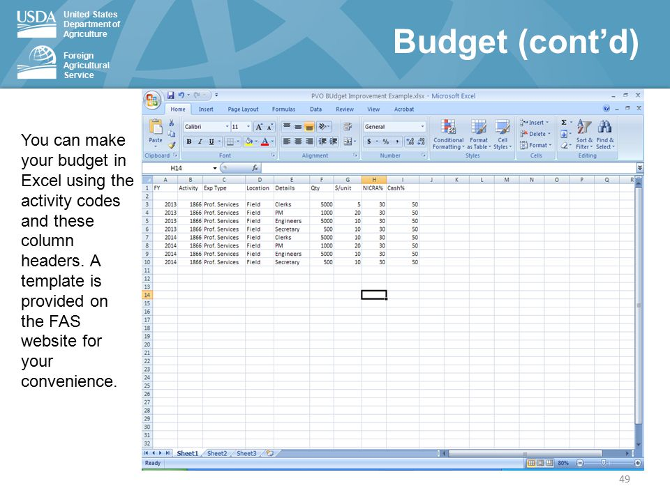 United States Department of Agriculture Foreign Agricultural Service You can make your budget in Excel using the activity codes and these column headers.