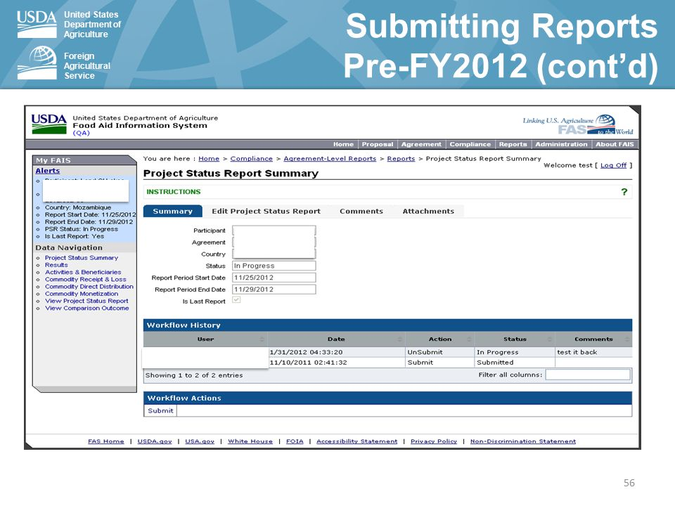 United States Department of Agriculture Foreign Agricultural Service 56 Submitting Reports Pre-FY2012 (cont'd)